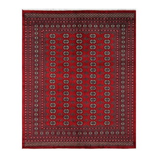 Herat Oriental Pakistani Hand-knotted Bokhara Red/ Ivory Wool Rug (8'3 x 10')
