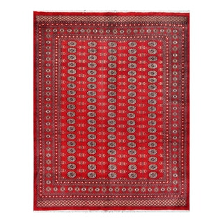 Herat Oriental Pakistani Hand-knotted Bokhara Red/ Ivory Wool Rug (8' x 10'3)