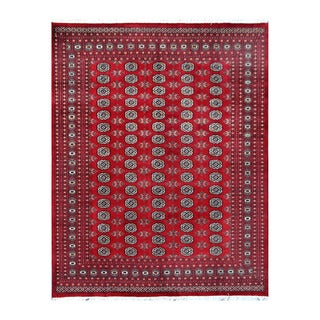 Herat Oriental Pakistani Hand-knotted Bokhara Red/ Ivory Wool Rug (8'1 x 10'4)