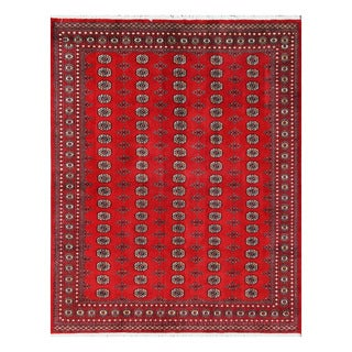 Herat Oriental Pakistani Hand-knotted Bokhara Red/ Ivory Wool Rug (8'3 x 10'4)