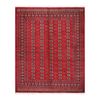 Herat Oriental Pakistani Hand-knotted Bokhara Red/ Ivory Wool Rug (8'2 x 10')
