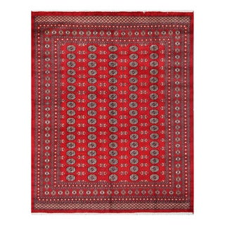 Herat Oriental Pakistani Hand-knotted Bokhara Red/ Ivory Wool Rug (8'2 x 10'2)