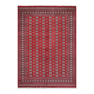 Herat Oriental Pakistani Hand-knotted Bokhara Red/ Ivory Wool Rug (9'5 x 13')