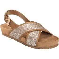 Women's Aerosoles Competition Slingback Sandal Taupe Glitter Fabric/Faux Leather