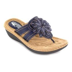 Women's Cliffs by White Mountain Cupcake Thong Wedge Sandal Blue Smooth Synthetic