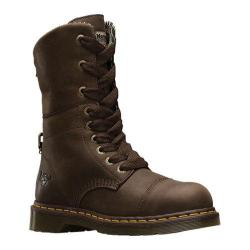 Women's Dr. Martens Leah Steel Toe Boot Dark Brown Wyoming