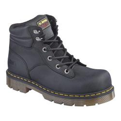 Dr. Martens Burnham Steel Toe 6 Tie Boot Black Industrial Greasy