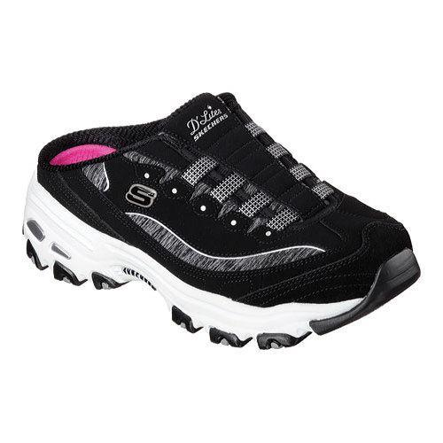 women 39 s skechers d 39 lites resilient sneaker clog black white free shipping today overstock. Black Bedroom Furniture Sets. Home Design Ideas