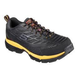 Men's Skechers Work Relaxed Fit Conroe Steel Toe Lace Up Black/Yellow