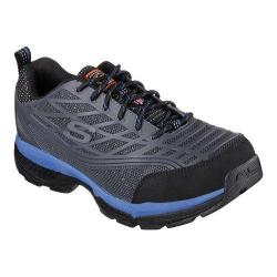 Men's Skechers Work Relaxed Fit Conroe Steel Toe Lace Up Charcoal/Blue