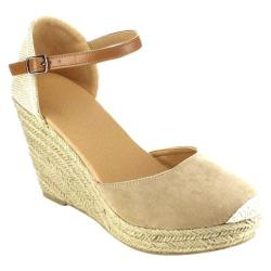 Women's Beston Sandra-01 Espadrille Wedge Sandal Taupe Faux Suede/Fabric