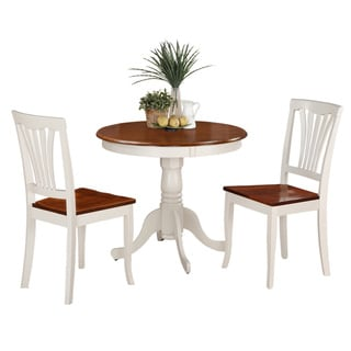 3-Piece Kitchen Nook Dining Set-Small Kitchen Table and 2 Kitchen Chairs (N/A - Buttermilk/Cherry)
