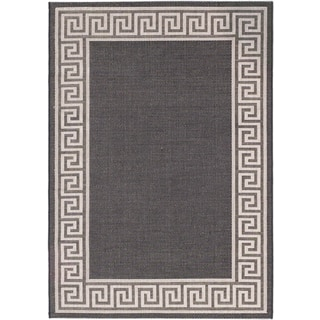 Ecarpetgallery Knossos Black Light Gray Open Field Indoor Outdoor Rug (3'11 x 5'7)