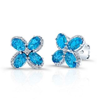 Estie G 14k White Gold Swiss Blue Topaz Diamond Flower Stud Earrings (H-I, VS1-VS2)