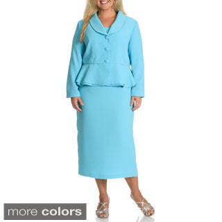 Giovanna Signature Women's Plus Size Rhinestone Embellished Shawl Collar 2-piece Skirt Suit