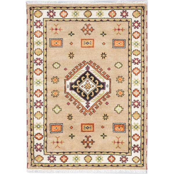 Ecarpetgallery Royal Kazak Khaki Wool Medallion Rug