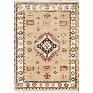 Ecarpetgallery Royal Kazak Khaki Wool Medallion Rug (4'3 x 5'10)