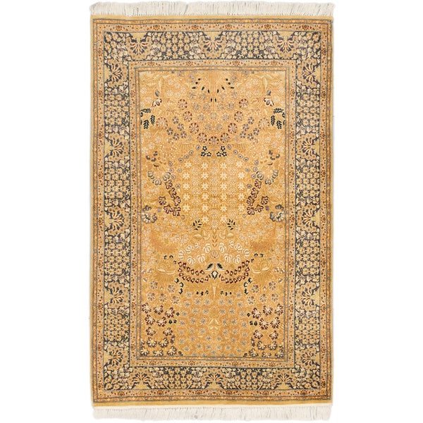 Hand-knotted Pako Persian 18/20 Brown, Navy Blue Wool Rug - 4'0 x 6'4