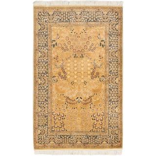Ecarpetgallery Pako Persian 18/20 Light Brown Navy Wool Open Field Rug (4'x 6'4)