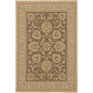 Ecarpetgallery Antigua Dark Brown Light Yellow Indoor Outdoor Rug (3'3 x 4'8)