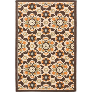 Ecarpetgallery Nueva Cream Dark Brown Indoor Outdoor Flowers Rug (6'7 x 9'5)