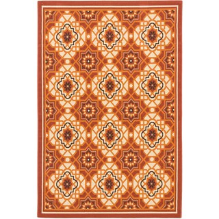 Ecarpetgallery Nueva Cream Dark Copper Indoor Outdoor Geometric Rug (4'11 x 7'5)