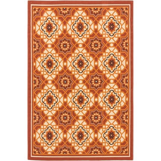 Ecarpetgallery Nueva Cream Dark Copper Indoor Outdoor Geometric Rug (6'7 x 9'5)