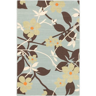 Ecarpetgallery Nueva Dark Brown Light Blue Indoor Outdoor Open Field Rug (6'7 x 9'5)