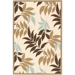 Ecarpetgallery Jardin Dark Brown Ivory Open Field Indoor Outdoor Rug (6'7 x 9'4)