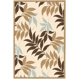 Ecarpetgallery Jardin Dark Brown Ivory Open Field Indoor Outdoor Rug (4'11 x 7'5)