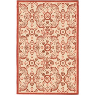 Ecarpetgallery Playa Cream Red Open Field Indoor Outdoor Rug (6'7 x 9'4)