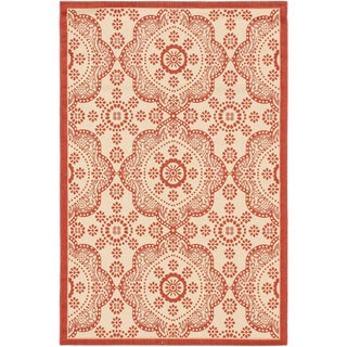 Ecarpetgallery Playa Cream Red Open Field Indoor Outdoor Rug (4'11 x 7'5)