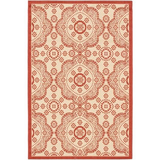 Ecarpetgallery Playa Cream Red Open Field Indoor Outdoor Rug (3'3 x 4'9)