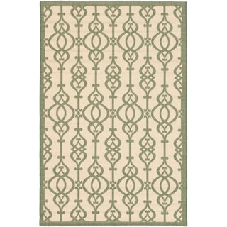 Ecarpetgallery Playa Cream Teal Open Field Indoor Outdoor Rug (6'7 x 9'4)