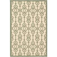 Ecarpetgallery Playa Cream Teal Open Field Indoor Outdoor Rug - 4'11 x 7'5