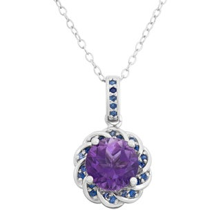 Sterling Silver Amethyst And Created Sapphire Flower Shaped Pendant Necklace