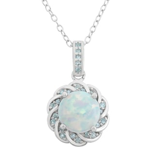 Sterling Silver Created Opal And Blue Topaz Flower Shaped Pendant Necklace