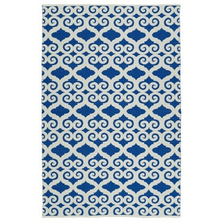 Indoor/Outdoor Laguna Navy and Ivory Scroll Flat-Weave Rug (2'0 x 3'0)