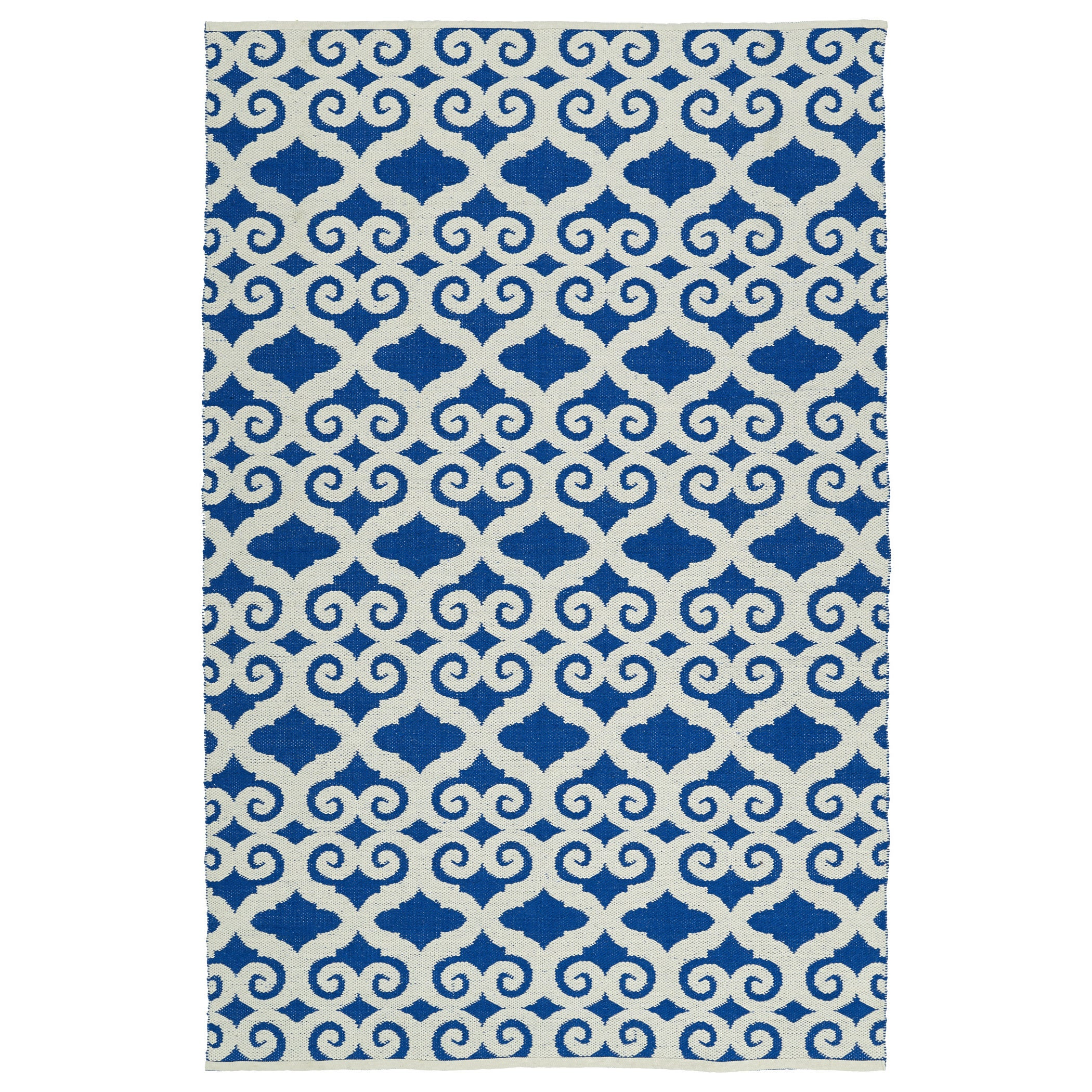 Bombay Home Indoor/Outdoor Laguna Navy and Ivory Scroll F...