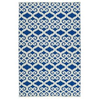 Indoor/Outdoor Laguna Navy and Ivory Scroll Flat-Weave Rug (3'0 x 5'0)