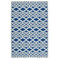 Indoor/Outdoor Laguna Navy and Ivory Scroll Flat-Weave Rug (8'0 x 10'0)