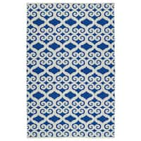 Indoor/Outdoor Laguna Navy and Ivory Scroll Flat-Weave Rug - 9' x 12'