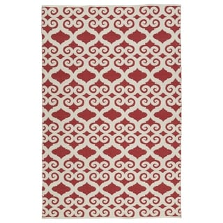 Indoor/Outdoor Laguna Red and Ivory Scroll Flat-Weave Rug (3' x 5')