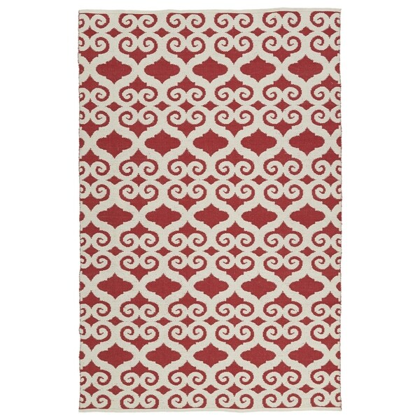 """Indoor/Outdoor Laguna Red and Ivory Scroll Flat-Weave Rug (5'0 x 7'6) - 5' x 7'6"""""""