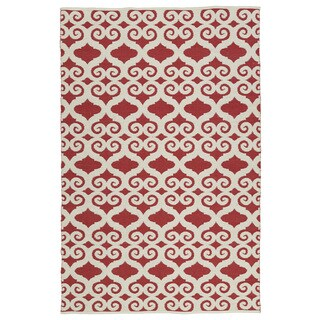 Indoor/Outdoor Laguna Red and Ivory Scroll Flat-Weave Rug (9'0 x 12'0)