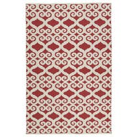 Indoor/Outdoor Laguna Red and Ivory Scroll Flat-Weave Rug - 9' x 12'