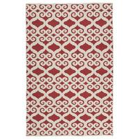 Indoor/Outdoor Laguna Red and Ivory Scroll Flat-Weave Rug (8' x 10')