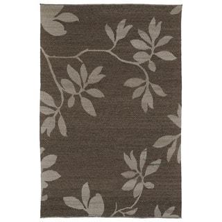 Handmade Mallard Creek Mocha Altamaha Floral Wool Rug (5'0 x 7'9)