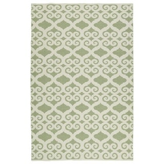 Indoor/Outdoor Laguna Green and Ivory Scroll Flat-Weave Rug (3' x 5')