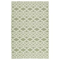 Indoor/Outdoor Laguna Green and Ivory Scroll Flat-Weave Rug - 3' x 5'